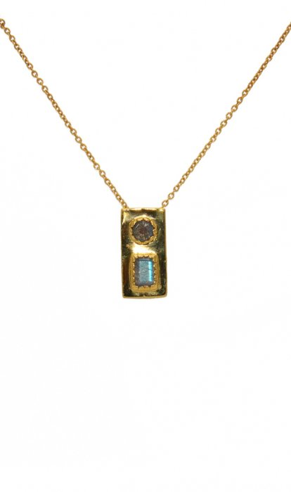 Collier LuckyTeam doré et Labradorite