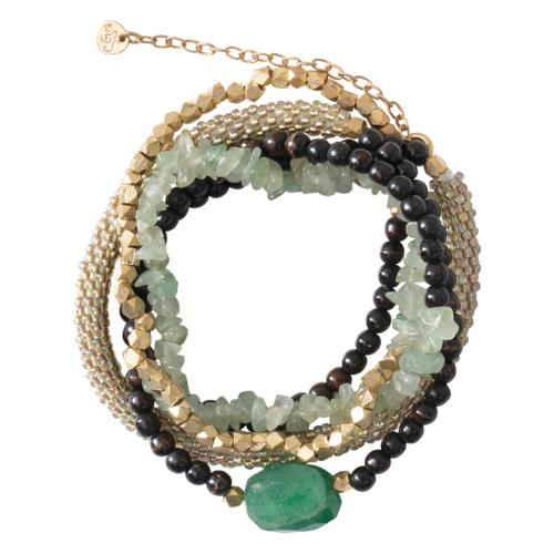Bracelet a Beautiful Story Superwrap doré Pierres Aventurine