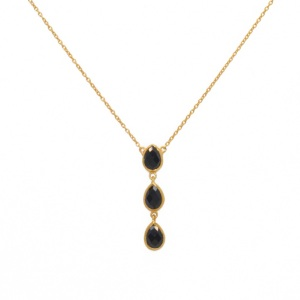 Collier LuckyTeam pendentif 3 Pierres Onyx