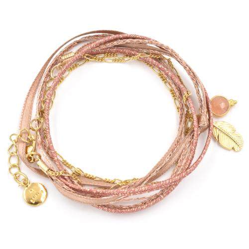 Bracelet By Garance Mini Plumy doré rose