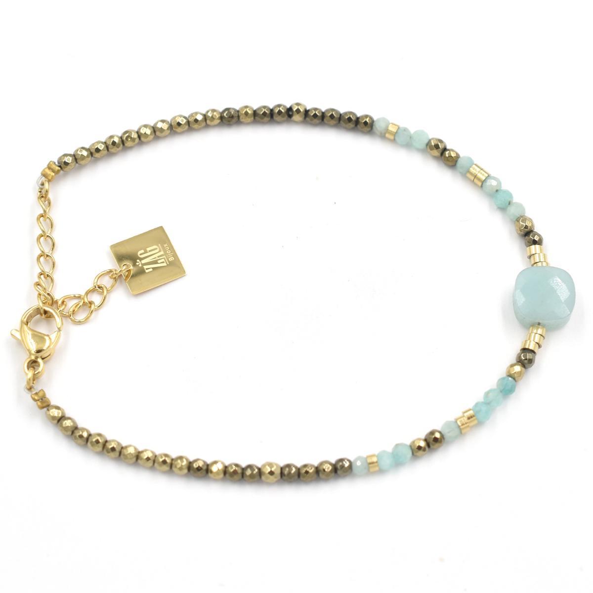 Bracelet ZAG Perles dorées et Amazonite