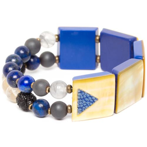 Bracelet Nature Bijoux Blue Tribe extensible 2 rangs