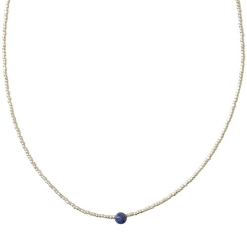 Collier a Beautiful Story Flora argenté Pierre Lapis-Lazuli