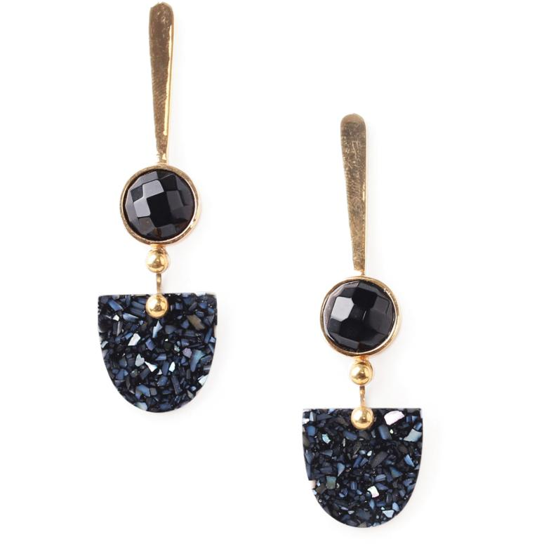 Boucles d'oreilles Nature Bijoux Black Light top métal