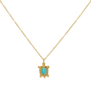Collier LuckyTeam pendentif Tortue et Turquoise